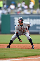 Mississippi Braves catcher Braeden Schlehuber (11) leads off first during a game against the Montgomery Biscuits on April 22, 2014 at Riverwalk Stadium in Montgomery, Alabama.  Mississippi defeated Montgomery 6-2.  (Mike Janes/Four Seam Images)