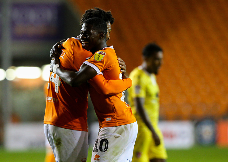 Blackpool's Sullay Kaikai celebrates with Joe Nuttall after the final whistle<br /> <br /> Photographer Alex Dodd/CameraSport<br /> <br /> EFL Leasing.com Trophy - Northern Section - Group G - Blackpool v Morecambe - Tuesday 3rd September 2019 - Bloomfield Road - Blackpool<br />  <br /> World Copyright © 2018 CameraSport. All rights reserved. 43 Linden Ave. Countesthorpe. Leicester. England. LE8 5PG - Tel: +44 (0) 116 277 4147 - admin@camerasport.com - www.camerasport.com