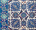 Iznik 12 - Stylized flower and leaf motifs on Iznik tiles in Rustem Pasa Mosque, Eminonu, Istanbul, Turkey