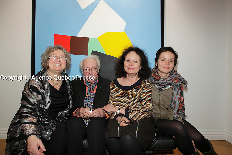 April 17, 2013 - Montreal, Quebec,  CANADA -  retrospective of Marcel Barbeau paintings at Michel-Ange gallery in Old-Montreal<br />  Barbeau is the last remaining member of Les Automatistes (group of painters from Quebec). In photo : Barbeau with 2 daughters and 1 grand-daughter : Anaïs Barbeau-Lavalette