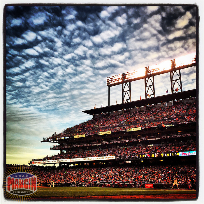 SAN FRANCISCO, CA - OCTOBER 15: Instagram of the general scene with clouds during Game 4 of the NLCS between the St. Louis Cardinals and San Francisco Giants at AT&T Park on October 15, 2014 in San Francisco, California. Photo by Brad Mangin