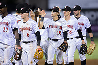 Mitch Roman (10) of the Kannapolis Intimidators high fives his teammates after their win over the Hagerstown Suns at Kannapolis Intimidators Stadium on June 14, 2017 in Kannapolis, North Carolina.  The Intimidators defeated the Suns 10-1 in game two of a double-header.  (Brian Westerholt/Four Seam Images)
