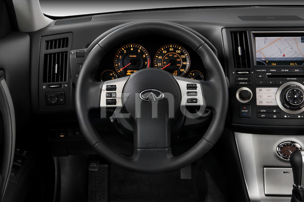 Steering wheel detail of a 2008 Infiniti FX35 SUV