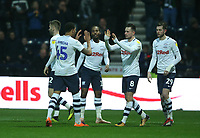 Preston North End's Alan Browne celebrates scoring his side's equalising goal to make the score 1-1 with team-mate Lukas Nmecha<br /> <br /> Photographer Stephen White/CameraSport<br /> <br /> The EFL Sky Bet Championship - Preston North End v Hull City - Wednesday 26th December 2018 - Deepdale Stadium - Preston<br /> <br /> World Copyright &copy; 2018 CameraSport. All rights reserved. 43 Linden Ave. Countesthorpe. Leicester. England. LE8 5PG - Tel: +44 (0) 116 277 4147 - admin@camerasport.com - www.camerasport.com