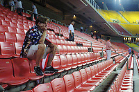 A United States national team supporters looks on dejectedly after the World Cup Quarterfinal match between the United States and Germany on June 21th, 2002 in Ulsan, South Korea.  Germany beat the USA 1-0.