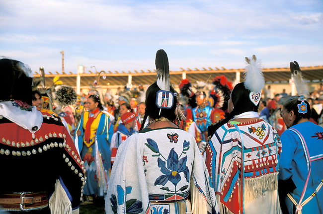Blackfeet dance participants in traditional beaded regalia during the annual Pow wow at the Blackfeet Indian Days Festival in Browning Montana