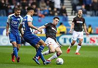 Bolton Wanderers' Joe Williams competing with Wigan Athletic's Antonee Robinson <br /> <br /> Photographer Andrew Kearns/CameraSport<br /> <br /> The EFL Sky Bet Championship - Wigan Athletic v Bolton Wanderers - Saturday 16th March 2019 - DW Stadium - Wigan<br /> <br /> World Copyright &copy; 2019 CameraSport. All rights reserved. 43 Linden Ave. Countesthorpe. Leicester. England. LE8 5PG - Tel: +44 (0) 116 277 4147 - admin@camerasport.com - www.camerasport.com