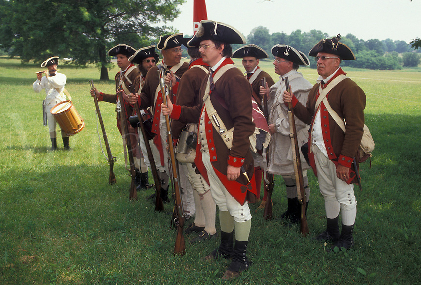 "AJ2769, Valley Forge Park, reenactment, infantry, soldiers, Valley Forge, Pennsylvania, A group of men dressed in Continental Army soldier costumes stand with muskets in formation at the """"March out of the Continental Army"""" an American Revolution reenactment in Valley Forge National Historical Park in Valley Forge in the state of Pennsylvania."
