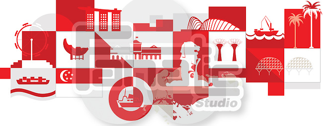 Illustrative collage of Singapore over white background