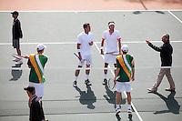 09-07-11, Tennis, South-Afrika, Potchefstroom, Daviscup South-Afrika vs Netherlands, Dubbel , de toss voor de partij, v.l.n.r.:Kevin Anderson, Jesse Huta Galung,Robin Haase en Rik de Voest