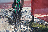 Tim Merlier (BEL/Crelan Charles) riding the mud.<br /> <br /> men's elite race<br /> Flandriencross Hamme / Belgium 2017