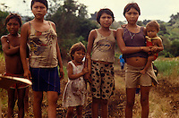 Yanomami indigenous people, acculturated indians from Amazon rainforest living in poverty, Roraima State, Brazil.