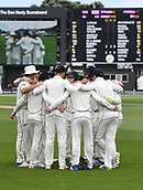 3rd December 2017, Wellington, New Zealand;  NZ team huddle.<br /> Day 3. New Zealand Black Caps v West Indies. 1st test match of the ANZ International Cricket Season 2017/18 season. Basin Reserve, Wellington,