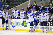 ?, ?, Erno Suomalainen (Finland - 30), Rasmus Rissanen (Finland - 8), Mikael Granlund (Finland - 11), Petri Pulkkinen (Finland - Coach), ?, Arto Sihvonen (Finland - Team Leader), Toni Rajala (Finland - 21), Joni Karjalainen (Finland - 13), Janne Kumpulainen (Finland - 15), Petri Tuononen (Finland - Goalie Coach), Jere Laaksonen (Finland - 16), Mika Marttila (Finland - Head Coach), ? - Russia defeated Finland 4-0 at the Urban Plains Center in Fargo, North Dakota, on Friday, April 17, 2009, in their semi-final match during the 2009 World Under 18 Championship.