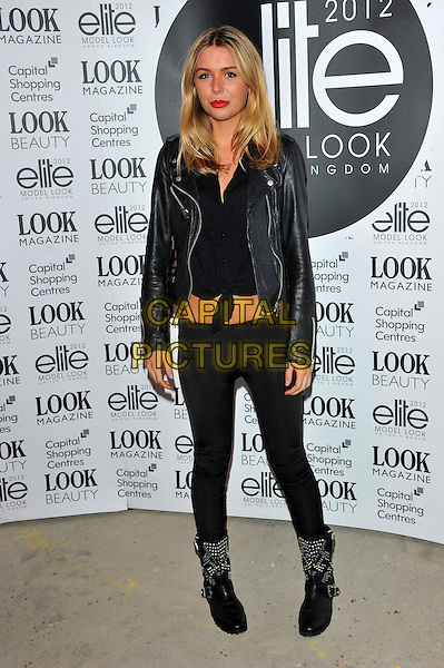 Chantelle Bidgley.The final of the Elite Model Look 2012 competition, a nationwide search to find the supermodels of the future, P3, 35 Marylebone Road, London, England..August 30th, 2012.full length black cropped top leggings boots leather jacket.CAP/CJ.©Chris Joseph/Capital Pictures.