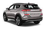 Car pictures of rear three quarter view of a 2019 Hyundai Tucson Shine 5 Door SUV angular rear