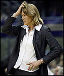 Oregon States head coach LaVonda Wagner grabs her hair after an Oregon State player was called for a foul in the first half of a basketball game, against Washington Saturday, Feb. 24, 2007 in Seattle. (AP Photo/Jim Bryant)