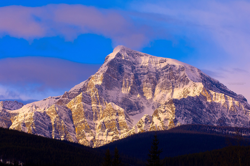 Peaks of the Canadian Rockies near Lake Louise, Banff National Park,  Alberta, Canada