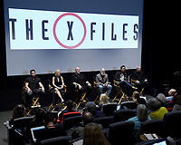 LOS ANGELES - JANUARY 10: (L-R) Actors David Duchovny, Gillian Anderson, and Mitch Pileggi, writer/producers Darin Morgan and Jim Wong, and Executive Producer Glen Morgan attend the 20th Century Fox Television 2018 Winter TCA studio day for 'The X-Files' on the Fox Studio Lot on January 10, 2018 in Los Angeles, California. (Photo by Frank Micelotta/Fox/PictureGroup)