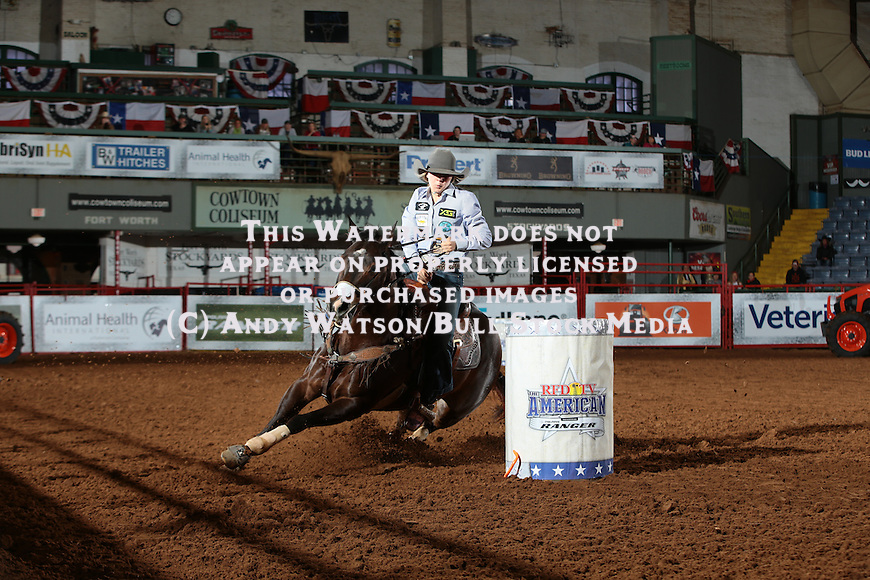 Josey Capps during the American Barrel Racing qualifier at Cowtown Coliseum. Photo by Andy Watson