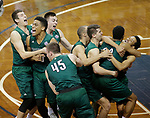 SIOUX FALLS, SD: MARCH 25:  Players from Northwest Missouri State celebrate after defeating Fairmont State 71-61 during the NCAA Men's Division II Basketball Championship game on March 25, 2017 at the Denny Sanford Premier Center in Sioux Falls, SD. (Photo by Dick Carlson/Inertia)