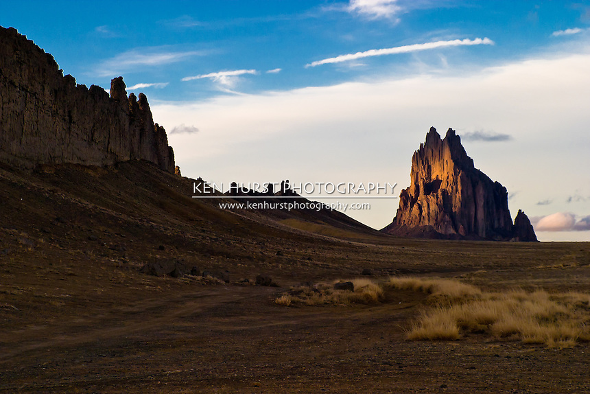 Shiprock Pinnacle or Peak, also known as Tse Bit' a'i in Navajo on the Navajo Nation in New Mexico.
