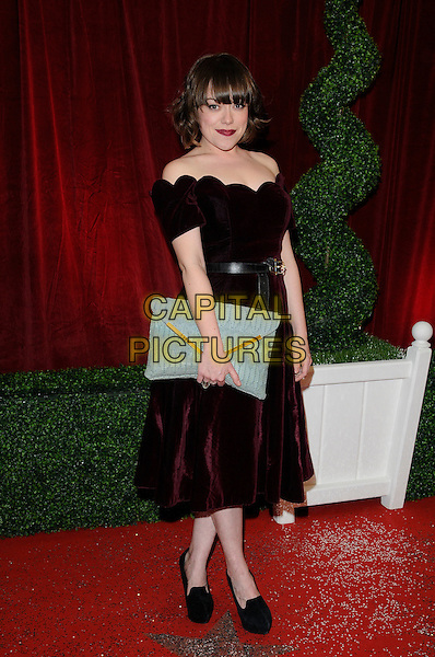 Sian Reese Williams.Attending the British Soap Awards 2012.at the London Television Centre, London, England, UK, 28th April 2012..arrivals full length red maroon velvet strapless off the shoulders dress black blue clutch bag  back shoes .CAP/CAN.©Can Nguyen/Capital Pictures.