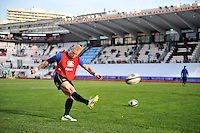 Tom Homer of Bath Rugby practises his kicking during the pre-match warm-up. European Rugby Champions Cup match, between RC Toulon and Bath Rugby on January 10, 2016 at the Stade Mayol in Toulon, France. Photo by: Patrick Khachfe / Onside Images