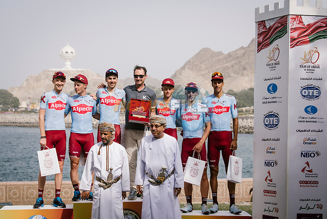 Team Katusha Alpecin win the overall team prize after Stage 6 of the 10th Tour of Oman 2019, running 135.5km from Al Mouj Muscat to Matrah Corniche, Oman. 21st February 2019.<br /> Picture: ASO/P. Ballet | Cyclefile<br /> All photos usage must carry mandatory copyright credit (© Cyclefile | ASO/P. Ballet)