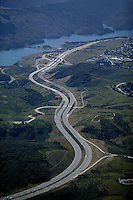 aerial photograph Interstate 280, Crystal Springs Reservoir, San Mateo County