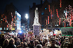 © Joel Goodman - 07973 332324 . 30/01/2017 . Manchester , UK . Thousands of people attend a rally and march against America's Muslim travel ban , the UK's alignment with the Donald Trump administration and a possible State visit to the UK by Donald Trump - outside Manchester Town Hall , in Albert Square , and through central Manchester . Photo credit : Joel Goodman