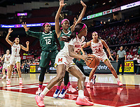 COLLEGE PARK, MD - FEBRUARY 03: Kaila Charles #5 of Maryland gets past Nia Clouden #24 of Michigan State during a game between Michigan State and Maryland at Xfinity Center on February 03, 2020 in College Park, Maryland.