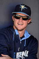 Tampa Bay Rays outfielder Wil Myers (9) before a spring training game against the Minnesota Twins on March 2, 2014 at Charlotte Sports Park in Port Charlotte, Florida.  Tampa Bay defeated Minnesota 6-3.  (Mike Janes/Four Seam Images)