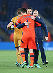 Tottenham's Mauricio Pochettino celebrates with Hugo Lloris during the Premier League match at the King Power Stadium, Leicester. Picture date: May 18th, 2017. Pic credit should read: David Klein/Sportimage
