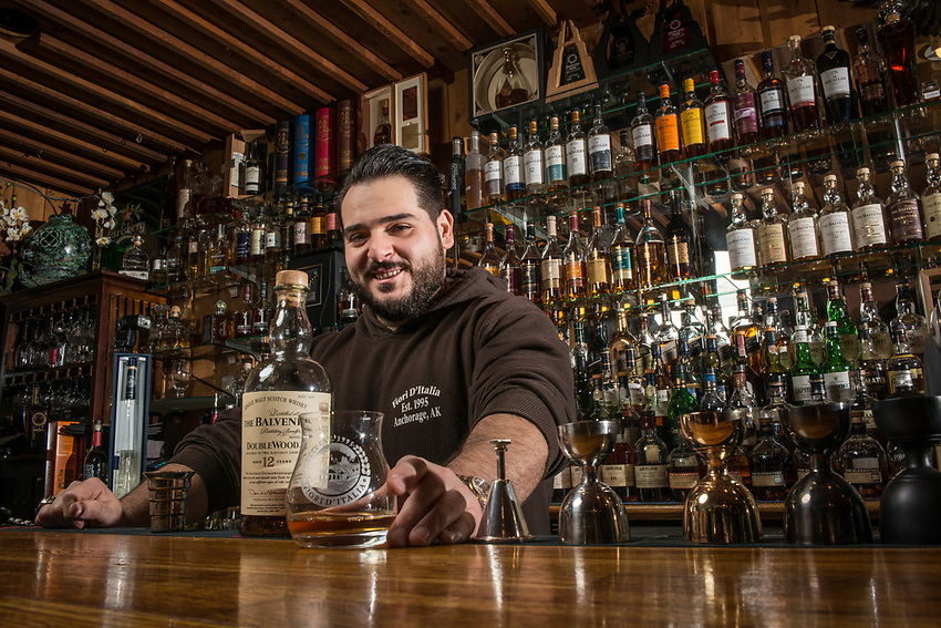 UAA Alum Ylli Ferati is the bartender at his family's restaurant, Fiori D'Italia, in Spenard. Ferati has helped build the bar's whiskey collection into the biggest in the state and Thrillist recently named Fiori D'Italia the best whiskey bar in Alaska.