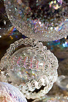 Close up of an intricate glass bauble