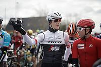 Jasper Stuyven (BEL/Trek-Segafredo) &amp; Sean De Bie (BEL/Lotto-Soudal) taping part of their own (national) tv-show 'Jonge Benen' (= 'Youthful Legs') on the actual race start line<br /> <br /> E3 - Harelbeke 2016
