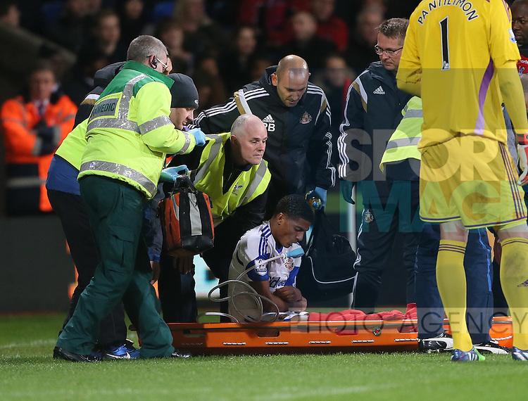 Sunderland's Patrick Van Aanholt gets stretchered off<br /> <br /> - Barclays Premier League - Crystal Palace vs Sunderland- Selhurst Park - London - England - 3rd November 2014  - Picture David Klein/Sportimage