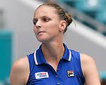March 30, 2019: Karolina Pliskova (CZE) is defeated by Ashleigh Barty (AUS) 6-7(1), 3-6, at the Miami Open being played at Hard Rock Stadium in Miami, Florida. ©Karla Kinne/Tennisclix 2010/CSM