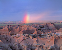 Summer Sunset Rainbow over the Badlands, Badlands National Park, Sage Creek Wilderness, South Dakota