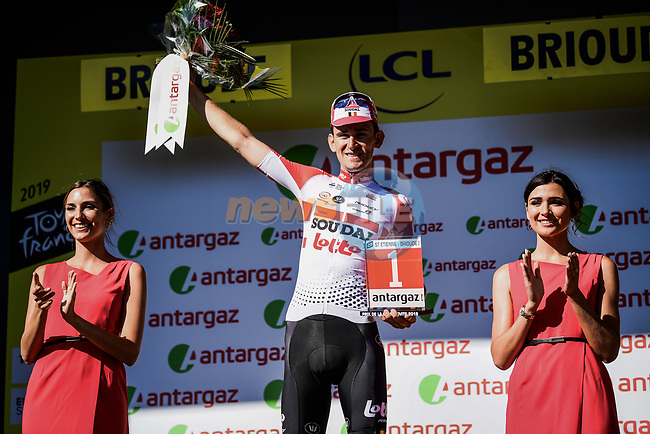 Tiesj Benoot (BEL) Lotto-Soudal wins the day's combativity prize at the end of Stage 9 of the 2019 Tour de France running 170.5km from Saint-Etienne to Brioude, France. 14th July 2019.<br /> Picture: ASO/Pauline Ballet   Cyclefile<br /> All photos usage must carry mandatory copyright credit (© Cyclefile   ASO/Pauline Ballet)