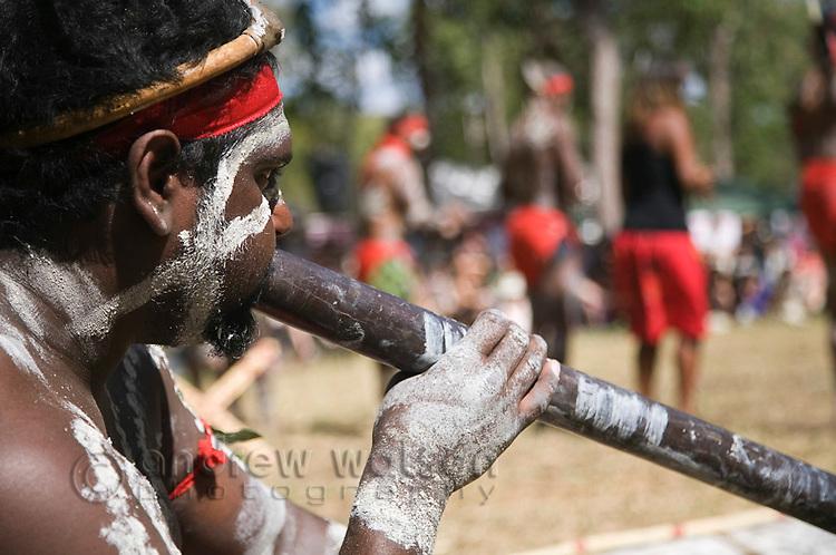 Indigenous performer playing the didgeridoo at the Laura Aboriginal Dance Festival.  Laura, Queensland, Australia