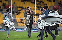 Fans take part in a halftime promotion during the Super Rugby match between the Hurricanes and Blues at Westpac Stadium, Wellington, New Zealand on Saturday, 2 July 2016. Photo: Dave Lintott / lintottphoto.co.nz