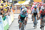 Peter Sagan (SVK) Bora-Hansgrohe beaten by Mike Theunison (BEL) Team Jumbo-Visma for the win of Stage 1 of the 2019 Tour de France running 194.5km from Brussels to Brussels, Belgium. 6th July 2019.<br /> Picture: Colin Flockton | Cyclefile<br /> All photos usage must carry mandatory copyright credit (© Cyclefile | Colin Flockton)