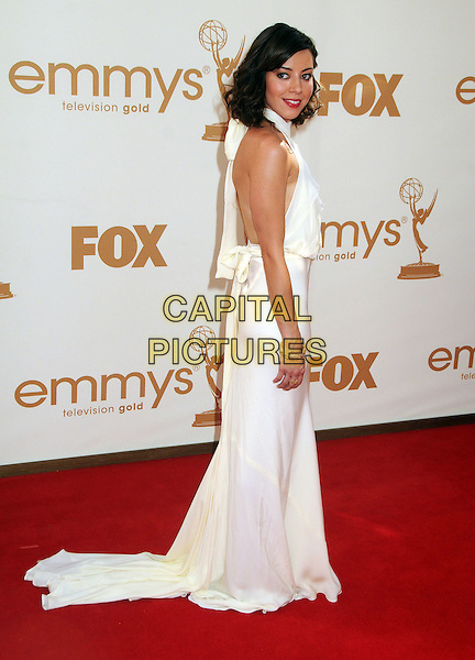 Aubrey Plaza.63rd Primetime Emmy Awards held at Nokia Theatre L.A. Live. Los Angeles, California, USA. .18th September 2011.emmys full length dress white sleeveless side.CAP/ADM/BP.©Byron Purvis/AdMedia/Capital Pictures.