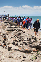 Sand castles and sand sculptures and crowds at the 51st Annual Sand Castle & Sculpture Contest at Crown Memorial State Beach in Alameda, California, June 10, 2017.
