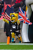 3rd November 2019; Wembley Stadium, London, England; National Football League, Houston Texans versus Jacksonville Jaguars; The Jaguars mascot, Jackson, runs out with a Union Jack and the Starts and Stripes - Editorial Use