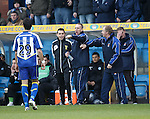 Kenny Shiels and Jimmy Nicholl after Pascali's red card as fourth official Andrew Dallas looks on.