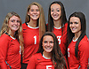 Connetquot girls volleyball's starting five pose for a group portrait during Newsday's High School Fall Season Preview photo shoot at company headquarters on Friday, Sept. 1, 2017. Appearing are: FRONT: Daniella Baisano. BACK, FROM LEFT: Mackenzie Taylor, Mackenzie Cole, Cassandra Patsos and Nicole Migliozzi.