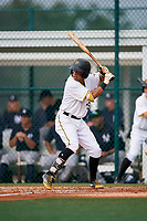 GCL Pirates left fielder John Lantigua (26) at bat during the first game of a doubleheader against the GCL Yankees East on July 31, 2018 at Pirate City Complex in Bradenton, Florida.  GCL Yankees East defeated GCL Pirates 2-0.  (Mike Janes/Four Seam Images)